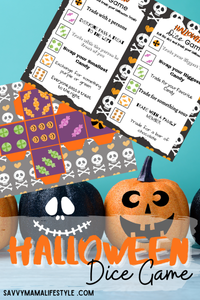 Print this FREE Roll The Dice Candy Game for your next Halloween Party! You'll be swapping, trading and exchanging candy every time someone rolls the dice. #HalloweenPartyGames #HalloweenParty #HalloweenPartyIdeas