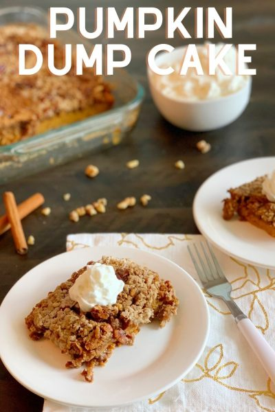 Anyone can make this Pumpkin Dump Cake recipe! Just stir your pumpkin, milk and spices. Dump the cake mix and bake to perfection. Makes a great dessert for Halloween or Thanksgiving. #PumpkinDumpCake #PumpkinDessert #ThanksgivingDessert #PumpkinCake