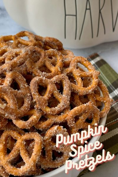 These easy pumpkin spice pretzels are the perfect combination of sweet and salty with pumpkin flavor! Just toss the pretzels in a coating and bake for 8 minutes. So addictive! #Pumpkin #PumpkinRecipes #PumpkinPretzels #PumpkinSnackIdea #PumkinSnackRecipe