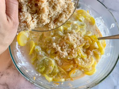 Creating the squash casserole mixture