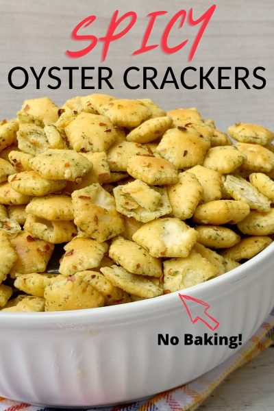 Kick it up a notch and make these Spicy Oyster Crackers! No baking required, just shake together, in a bag, and serve. They're a great appetizer for cocktail hour, game day or as a homemade holiday gift. #OysterCrackers #SeasonedCrackers #Appetizer #GameDayFood