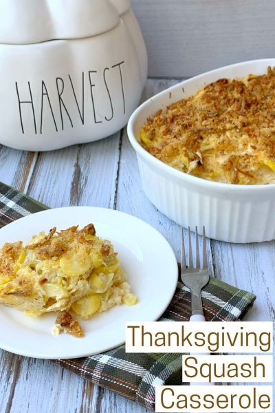 This southern squash casserole recipe makes for the perfect Thanksgiving side dish. It's got a creamy and cheesy center with a crunchy topping. Everyone loves it! #Thanksgiving #ThanksgivingSideDish #ThanksgivingRecipe #Squash #SquashCasserole