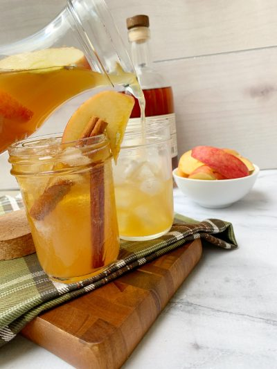 Individual pours of apple cider cocktail recipe