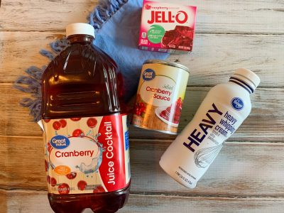 Ingredient list photo: juice, jellied, heavy whipping cream and gelatin