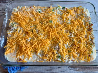 Sprinkle with cheese and refrigerate overnight