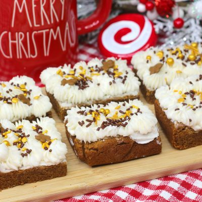 Easy Christmas Gingerbread Bars That Are Soft & Chewy