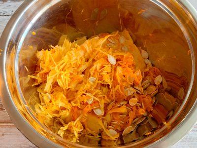 Inside of pumpkin, pumpkin guts, roasting pumpkin seeds