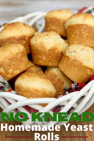 Easy Homemade Yeast Rolls: This recipe requires no kneading! They're light, have great flavor and they're the perfect side to your holiday dinner. #YeastRolls #NoKneadBread #YeastBreadRecipes #DinnerRollsRecipe #DinnerRolls