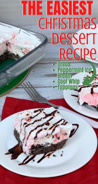 Looking for an easy Christmas dessert recipe? This Frozen Peppermint Delight is always a hit! It's a layer of Oreo crust, peppermint ice cream and topped with cool whip. Keep it in your freezer for movie nights, unexpected guests or as a sweet treat. #ChristmasDessert #ChristmasRecipe #HolidayDessert #ChristmasDessertRecipe