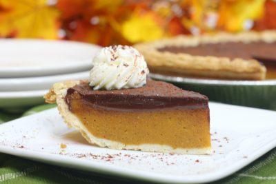 Pumpkin Pie With Chocolate Ganache Topping (Thanksgiving Dessert Recipe)