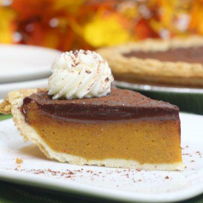 Thanksgiving Pumpkin Pie With Chocolate Ganache Topping