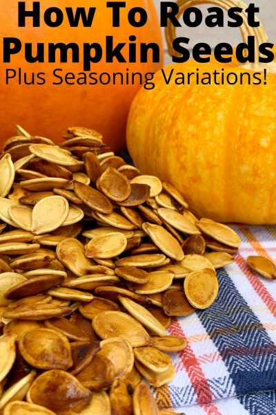 The EASIEST way to make Roasted Pumpkin Seeds in your oven. PLUS - seasoning variations that are super tasty. It's the perfect way to repurpose your Halloween pumpkin. #Pumkpkin #PumpkinCarving #PumpkinSeeds #HalloweenRecipe