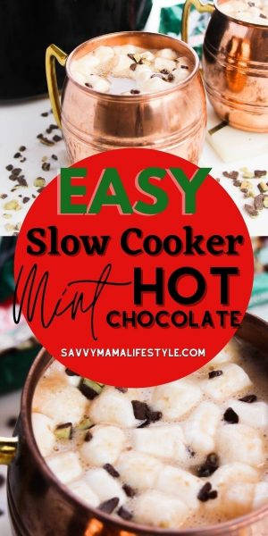 Rich and creamy, this Mint Slow Cooker Hot Chocolate Recipe is a holiday must-do! It's made with Andes Chocolate Mints and stays hot, in the slow cooker, for hours. It's perfect for family movie night, outdoor events and parties. #HotChocolate #SlowCookerRecipe #SlowCookerHotChocolate #HotCocoa #ChristmasDrinks