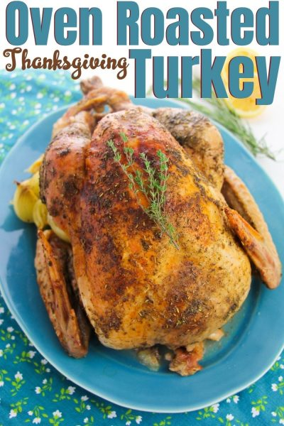 Thanksgiving Turkey Recipe: This classic oven roasted turkey recipe is easy-to-follow. It's a traditional turkey recipe, stuffed with citrus and herbs for flavor. Includes step-by-step directions and all of your turkey questions answered! #Thanksgiving #ThanksgivingTurkey #ThanksgivingTurkeyRecipe #RoastedTurkey #WholeTurkeyRecipe