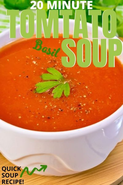 The EASIEST homemade Tomato Basil Soup recipe! Make it in twenty minutes, over the stove, with only 6 ingredients. It's creamy, rich and delicious. Serve with grilled cheese for the ultimate comforting meal. #TomatoSoup #HomemadeSoupRecipe #TomatoBasilSoup #TomatoRecipe