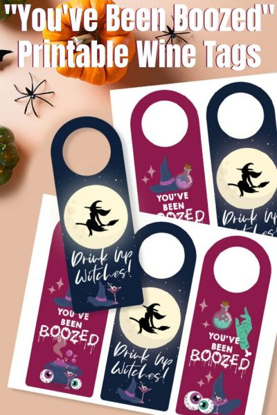 "Print these FREE ""You've Been Boozed"" Bottle Tags! It's a fun adult Halloween game - place it anonymously on your friend's porch and they pass on the love. It's also a great socially distanced Halloween activity too. #Halloween #AdultHalloween #HalloweenPrintable #Printable #WineTags"