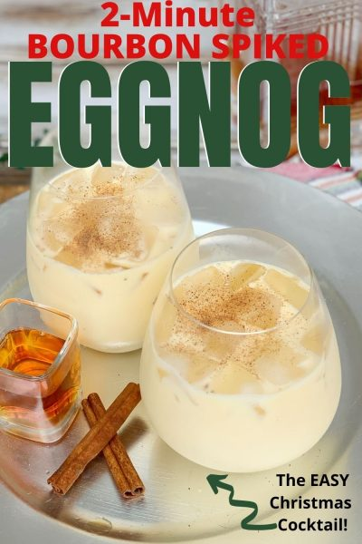 How to make Bourbon Spiked Eggnog, the EASY way, without an egg risk and no work over your stove top! It's the BEST Christmas cocktail. #BourbonCocktail #SpikedEggnog #EggnogDrinkRecipe #Eggnog