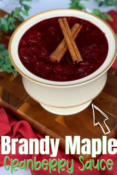 Sweet with a hint of maple, these Brandy Maple Cranberries are always a hit during the holiday season. You'll never go back to canned cranberries again. #CranberryRecipe #CranberrySauce #BrandyRecipe
