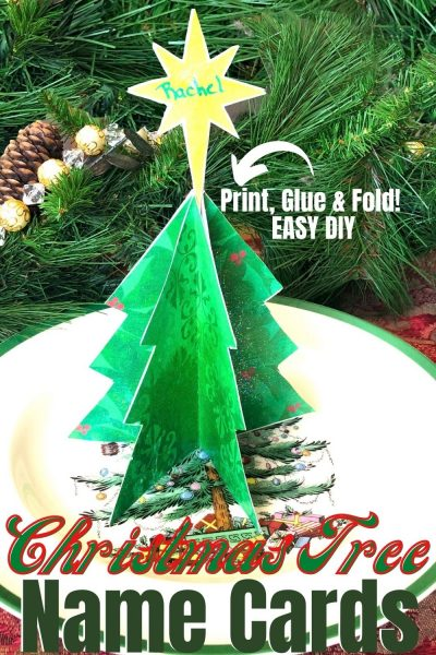 Print and glue this EASY DIY Christmas Place Card Holder for your holiday table setting. #Christmas #DIYChristmas #ChristmasCraft #ChristmasTable #TableSetting
