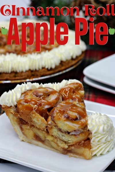 This Cinnamon Roll Apple Pie has an amazing flavor combination that's unexpected! It's got a layer of traditional apple pie and then topped with miniature cinnamon rolls. It's FANTASTIC! Make it as a great fall dessert - for Thanksgiving! #ThanksgivingDessert #Thanksgiving #ThanksgivingRecipe #ApplePie