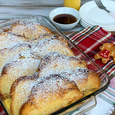 Overnight Eggnog French Toast Breakfast Casserole