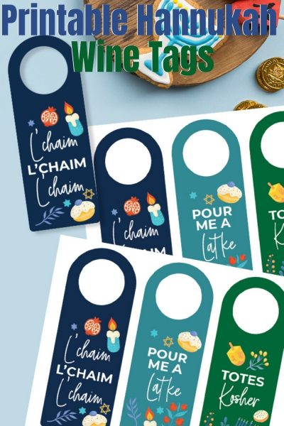 Grab these FREE Printable Hanukkah Wine Tags for easy gift giving! Perfect for hostess gifts, synagogue events and teacher gifts. #Hannukah #HannukahIdeas #PrintableHannukah #WineTags