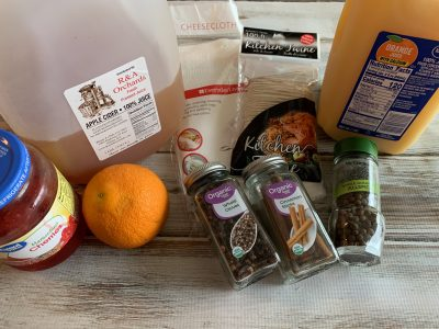 Ingredients for Non-Alcoholic Christmas Punch Recipe