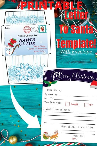 Grab your FREE Printable Template For Letter To Santa, which kids of all ages can use. It includes a matching envelope as well! #SantaLetter #ChristmasPrintable #Christmas