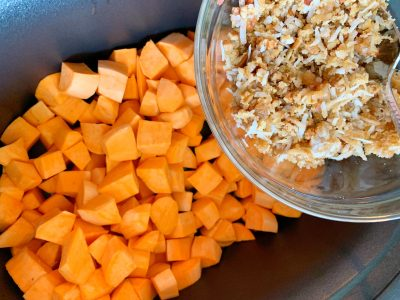 Sprinkle Brown Sugar Mixture Over The Chopped Sweet Potatoes