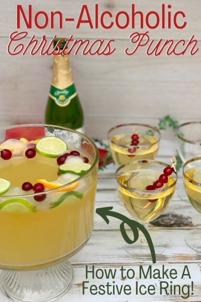 How to make a refreshing non-alcoholic holiday punch, with a beautiful ice ring to keep it chilled. #ChristmasPunch #ChristmasPunchForKids #NonAlcoholicChristmasPunch
