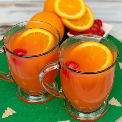 Warm Cherry Orange Non-Alcoholic Christmas Punch Recipe