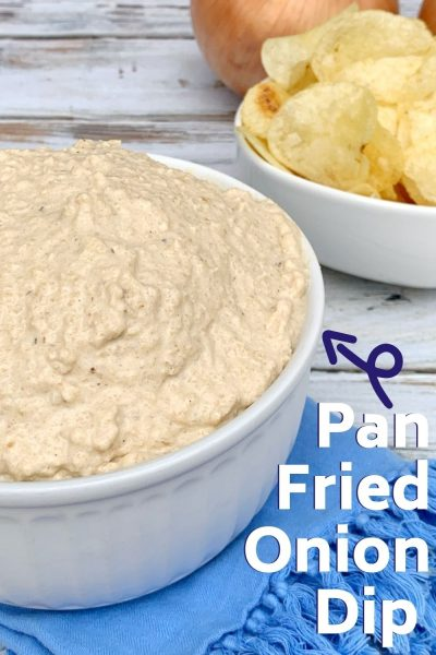 A southern tradition, this easy pan fried onion dip recipe is always a favorite. Serve with vegetables or potato chips. #DipRecipe #AppetizerDip #EasyAppetizer #OnionDip #OnionRecipe