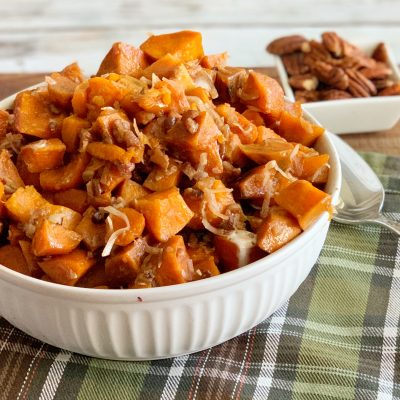 Thanksgiving Slow Cooker Sweet Potatoes (With Coconut & Pecan)