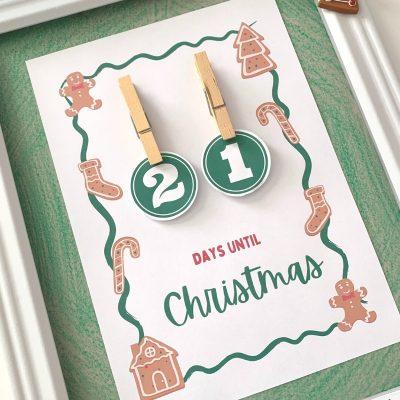 Printable Christmas Countdown Calendar (DIY Hangable)