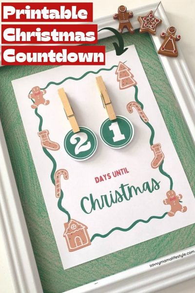 Print this FREE Christmas Countdown Calendar to use during the month of December. Add it to your holiday decor and celebrate all month long. Kids love changing it out daily too! #Christmas #ChristmasCalendar #AdventCalendar #HolidayCalendar #ChristmasPrintable