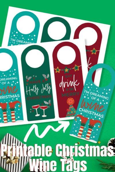 Grab your FREE Printable Christmas Wine Tag for easy gift giving! #ChristmasPrintable #Christmas #HolidayPrintable #WineTags