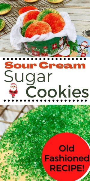 You've got to try Sour Cream Sugar Cookies and you'll be a believer! This old-fashioned recipe makes fluffy and SOFT sugar cookies. It's the perfect Christmas cookie recipe. #SugarCookies #ChristmasBaking #ChristmasCookies #ChristmasCookieRecipes