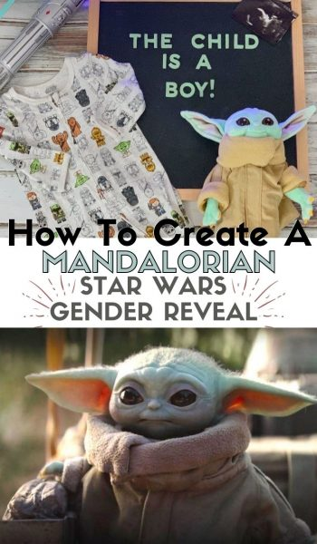 How to create your own unique Star Wars Mandalorian Gender Reveal announcement. #StarWars #BabyAnnouncement #GenderRevealIdeas #GenderReveal