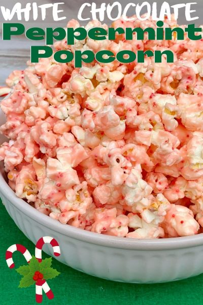 Made with only 3 ingredients, this White Chocolate Peppermint Popcorn is a popular Christmas snack recipe that everyone loves. #ChristmasSnack #ChristmasSnackRecipe #Popcorn