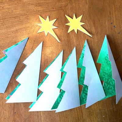 Folding Christmas Trees In Half For Place Cards