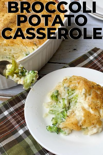 This Broccoli Potato Casserole Bake has layers of cheese hash browns with chopped broccoli in-between, then topped with bread crumbs for a creamy side dish recipe. #BroccoliSideDish #ThanksgivingSideDish #ChristmasSideDish #Casserole
