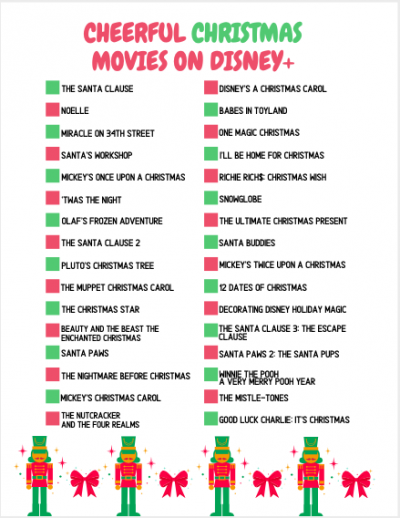 2020 Disney Plus Christmas Movies Checklist