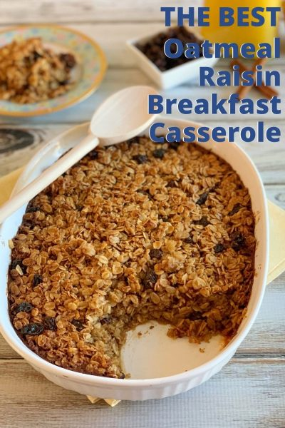Start your mornings with this make-ahead Oatmeal Raisin Breakfast Casserole bake, that's both heart-healthy and filling! #Breakfast #HealthyBreakfastRecipe #OatmealRecipe #BreakfastCasserole