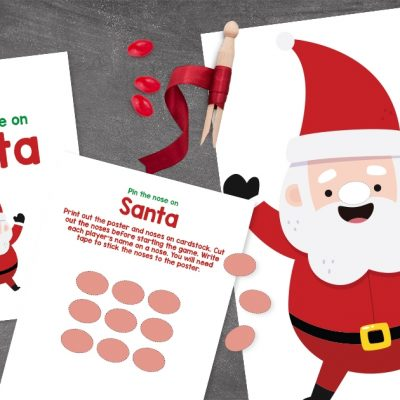 Printable Christmas Party Game For Kids: Pin The Nose On Santa