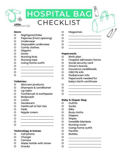 Printable Hospital Checklist For Pregnant Moms