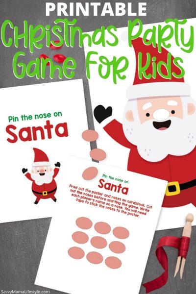 """Print this FREE """"Pin The Nose On Santa"""" Christmas Game For Kids! #Printable #Christmas #ChristmasPartyGames #ChristmasGames #ChristmasPartyIdeas"""