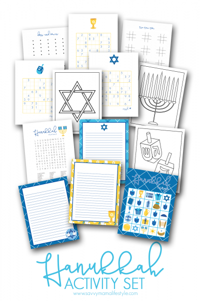 Print these FREE Hanukkah coloring pages, bingo cards and activity sheets for the kids! They're perfect for entertaining during the winter break, family road trip or a party. #Hanukkah #HanukkahPrintables #Jewish #KidsHanukkah