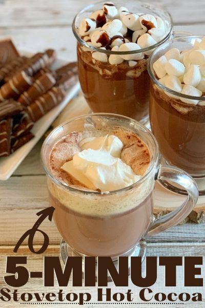 How to make classic Stovetop Hot Cocoa, the old-fashioned way, in 5 minutes! Just throw it in a pot, stir as you heat and enjoy with your favorite toppings. #HotCocoa #HotChocolate #WinterRecipe #DrinkRecipe #Drink