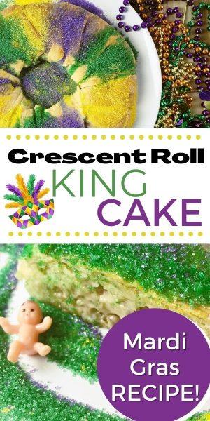 King Cake Recipe: How to make an easy king cake with Pillsbury Crescent Rolls. #MardiGras #KingCake #KingCakeRecipe