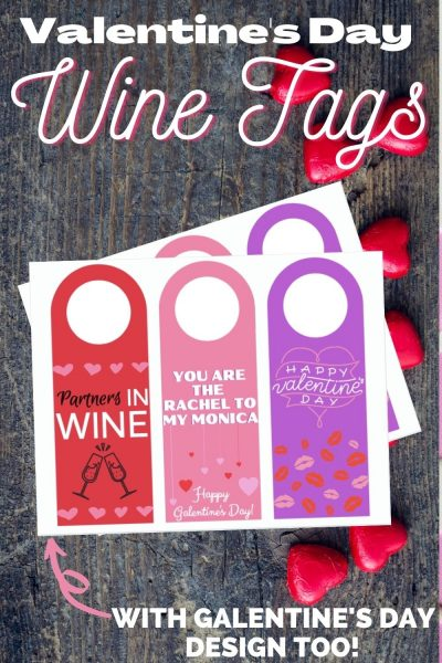 Grab your FREE printable Valentine's Day Wine Tags (with a Galentine's Day design) to celebrate with your loved ones! #ValentinesDay #GalentinesDay #Printable #WineTags